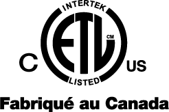 Intertek ETL Listed - Fabriqué au Canada