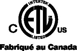 Intertek ETL Listed - Fabriqué au Canada