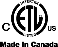 Intertek ETL Listed - Made In Canada